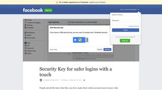 Security Key for safer logins with a touch | Facebook