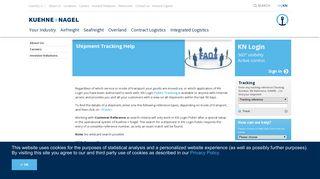Kuehne + Nagel: Shipment Tracking Help