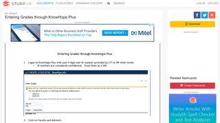 Entering Grades through KnowHope Plus - studylib.net