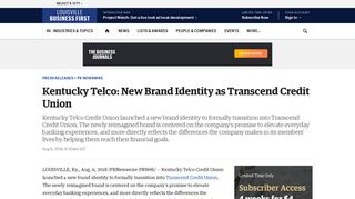 Kentucky Telco: New Brand Identity as Transcend Credit Union ...