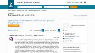 Transcend Credit Union, Inc. | Complaints | Better Business Bureau ...