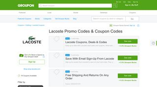 Lacoste Coupons, Promo Codes & Deals 2019 - Groupon