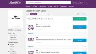 Lacoste Coupons: 50% Off, 2019 Promo Codes - RetailMeNot