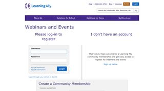 Login or register for events and webinars - Learning Ally