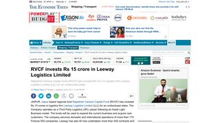 Leeway Logistics Limited: RVCF invests Rs 15 crore in Leeway ...