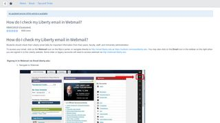 How do I check my Liberty email in Webmail - ServiceNow
