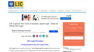 LIC Login for New Users, Customers, Agent Login - Steps for Online ...