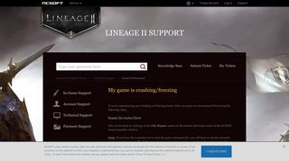 My game is crashing/freezing – Lineage II Support