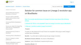 Solution for common issue on Lineage 2 revolution app on BlueStacks ...