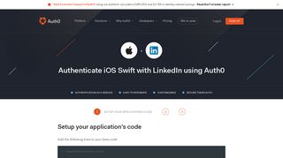 Authenticate iOS Swift with LinkedIn - Auth0