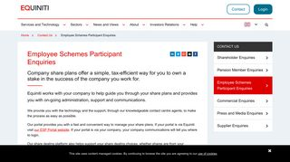 Employee Schemes Participant Enquiries - Equiniti