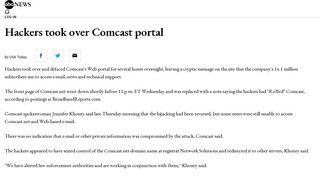Hackers took over Comcast portal - ABC News
