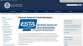 Electronic System for Travel Authorization | U.S. Customs and Border ...