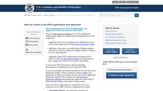 How do I know if my ESTA application was approved - CBP Info Center