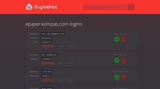 epaper.kompas.com passwords - BugMeNot