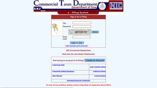 :. NIC - VATSoft e-Filing System .: - Commercial Taxes Department ...