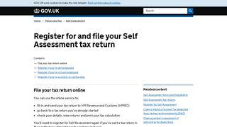Register for and file your Self Assessment tax return - GOV.UK