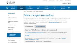 Public transport concessions - Monash Connect - Monash University