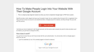 How To Make People Login Into Your Website With Their Google ...