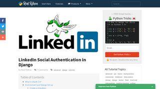 LinkedIn Social Authentication in Django – Real Python