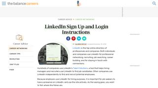 How to Sign Up and Login in to LinkedIn - The Balance Careers