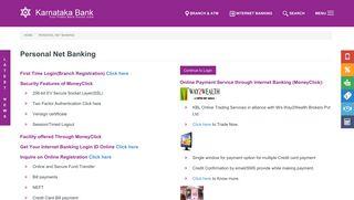 Personal Net Banking   Karnataka Bank