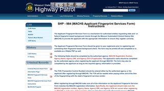 MACHS Fingerprint Services Form - Missouri State Highway Patrol