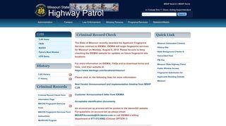 Criminal Record Check - Missouri State Highway Patrol