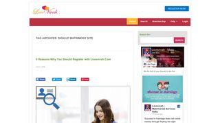 Sign up matrimony site | Lovevivah Matrimony Blog