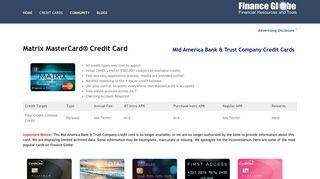 Matrix MasterCard Credit Card - Research and Apply - Finance Globe