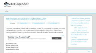 Continental Finance Reflex MasterCard - Credit Card Login | How to ...