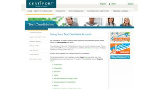 Using Your Test Candidate Account - Certiport | Home - Certify to ...