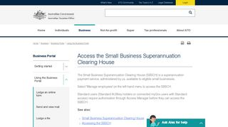 Access the Small Business Superannuation Clearing House - ATO