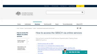 How to access the SBSCH via online services | Australian Taxation ...