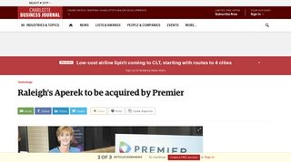 Raleigh's Aperek to be acquired by Premier - Charlotte Business Journal