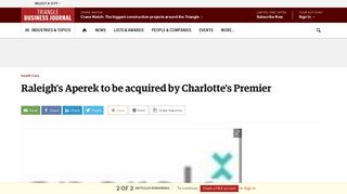 Raleigh's Aperek to be acquired by Charlotte's Premier - Triangle ...