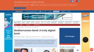 Mediterranean Bank: A truly digital bank - The Malta Independent