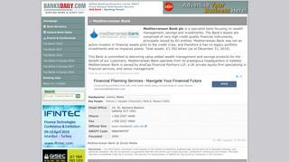 Mediterranean Bank, Valletta, Malta | Head office, address, tel, website ...