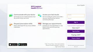 MyChart at NYU Langone Health - Login Page