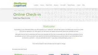 Online Check-in | MedSpring Urgent Care