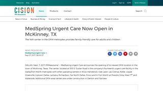 MedSpring Urgent Care Now Open in McKinney, TX - PR Newswire