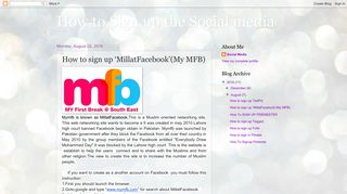 'MillatFacebook'(My MFB) - How to Sign up the Social media