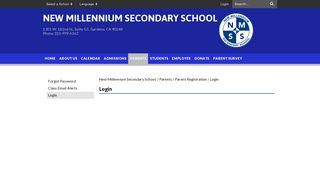 Login - New Millennium Secondary School