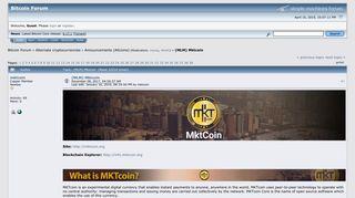 (MLM) Mktcoin - Bitcointalk
