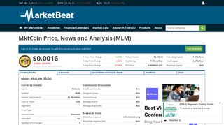 MktCoin News, Analysis and Price Prediction (MLM) | MarketBeat