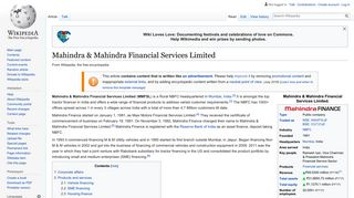 Mahindra & Mahindra Financial Services Limited - Wikipedia