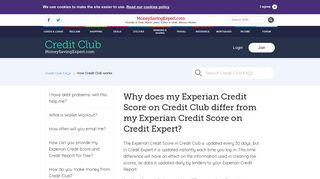 Why does my Experian Credit Score on Credit Club differ from my ...