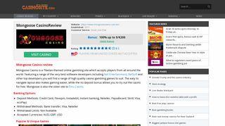 Mongoose casino review – Real Money Casino Sites