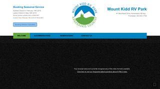 Mount Kidd RV Park: Welcome