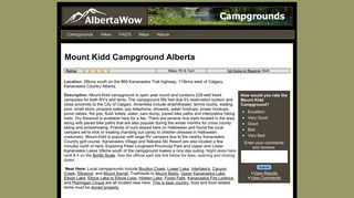 Mount Kidd Campground - Albertawow